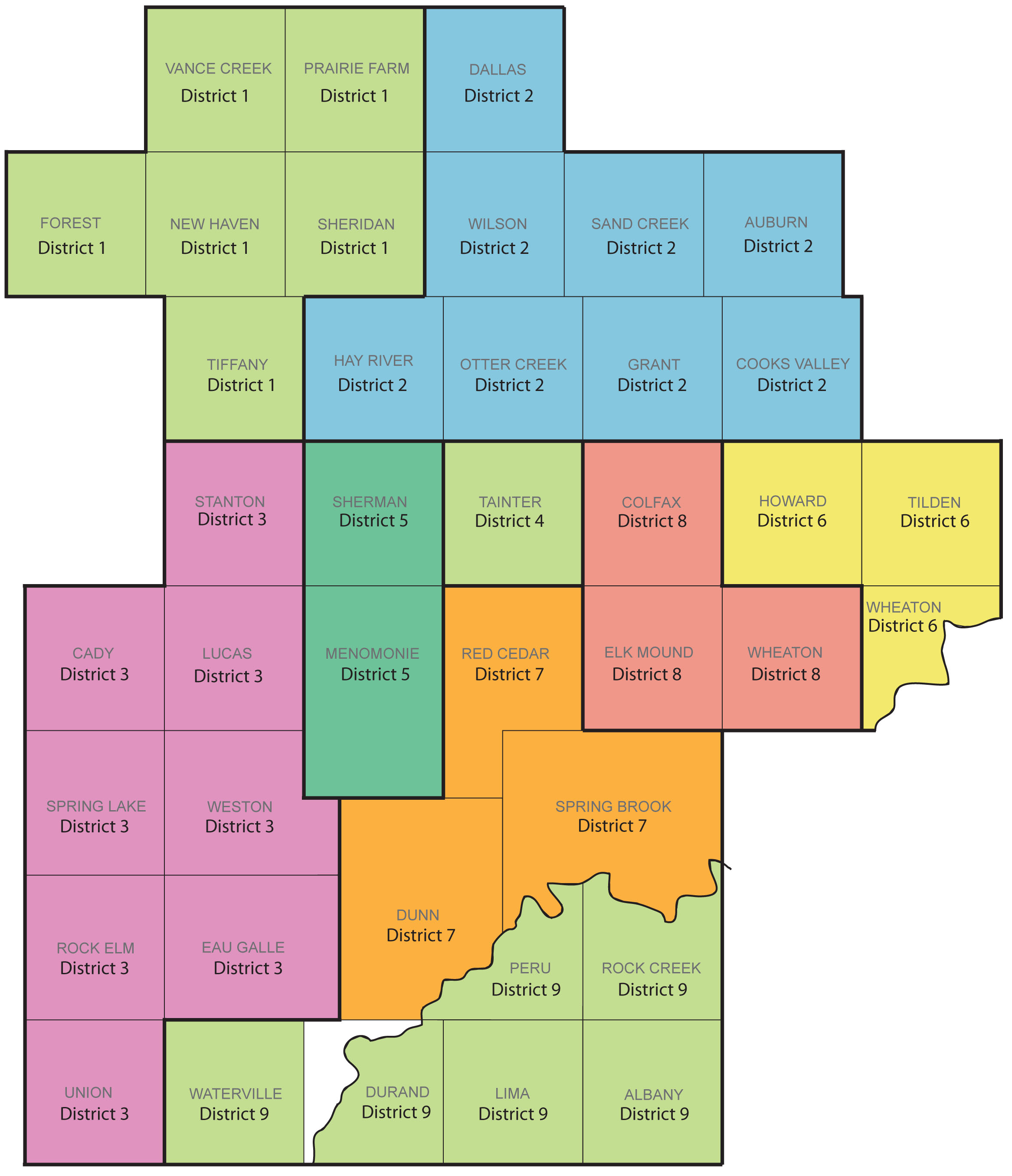 Map of the Districts in Dunn County